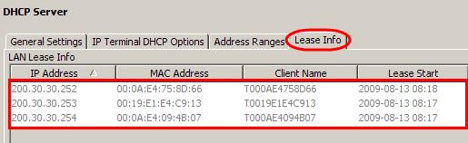Viewing Current DHCP Clients Use the following procedure to view DHCP clients who currently have an IP Address issued by the BCM. 1.