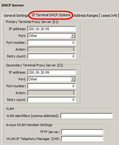 2. Select the IP Terminal DHCP Options tab. If you need to change the S1 or S2 information, alter the appropriate fields. Note: The S1 address should always correspond to the BCM LAN IP Address.