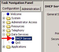 4. Now open the Data Services folder and select DHCP Server. 5.