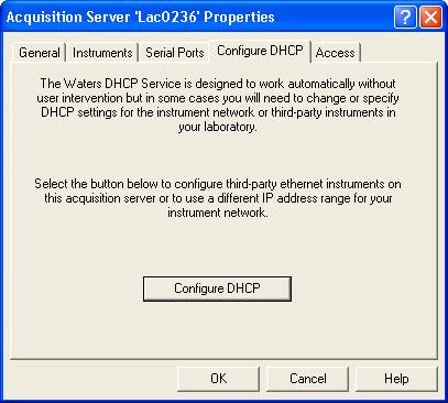Figure 1: Acquisition Server Properties Page 4. Click the Configure DHCP button. The Waters DHCP Server Configuration page appears (Figure 2). Note: This page lists the configured A1100 detectors.