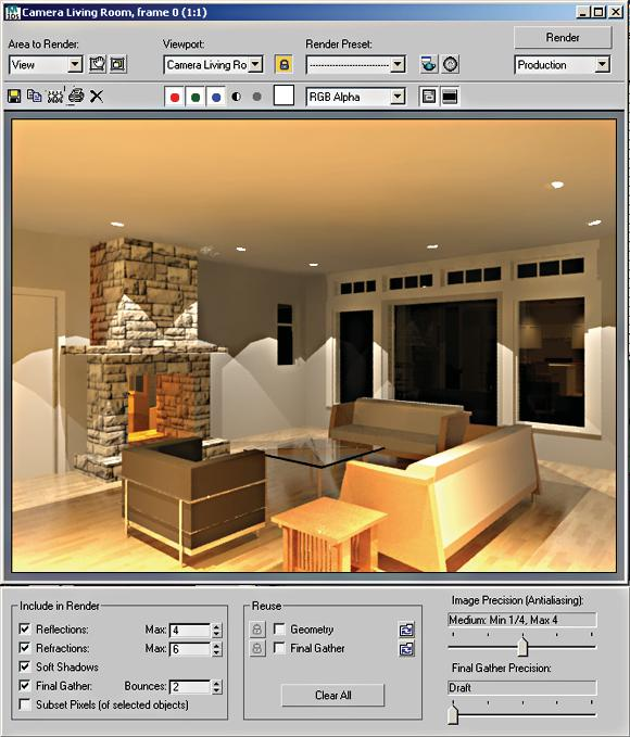 Render Frame Window The Render Frame Window is a complex dialog where most of the commonly