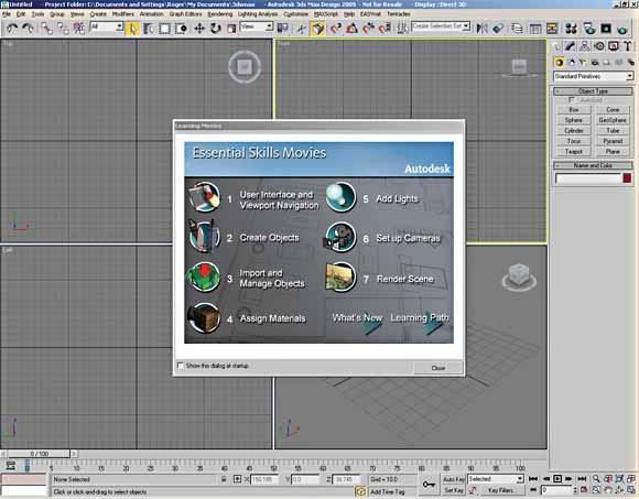 User Interface Components The first time you start 3ds Max or 3ds Max Design, you will see the following GUI on your screen. The UI is logically laid out and easy to use.