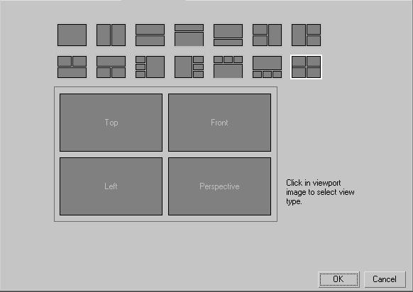 Viewport Configuration By default, the software opens with four equal-sized viewports displayed in the UI. You can change this layout with the Viewport Configuration dialog.