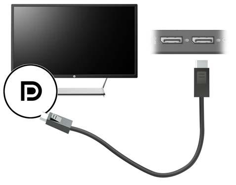 Connecting a DisplayPort device NOTE: To connect a DisplayPort video device to your dock, you need a DisplayPort cable, purchased separately.