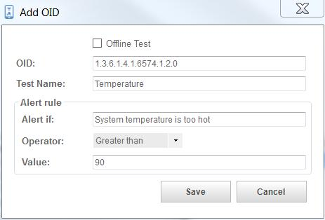 "1.2.0). You can only enter it if the Offline Test option is unchecked. Enter a name for the test (e.g. Temperature). Enter the reason for the alert (e.g. ""System temperature is too hot"")."