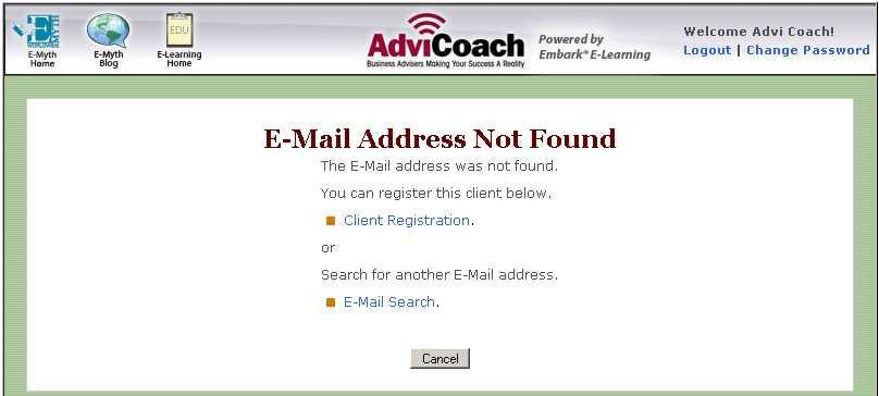 Enroll Client - If Email Address Not Found Enter client s email exactly as they have specified
