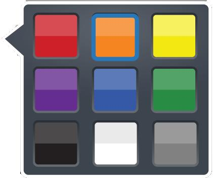 Choose the color in the flyout. Tip: The current color is shown on the button.