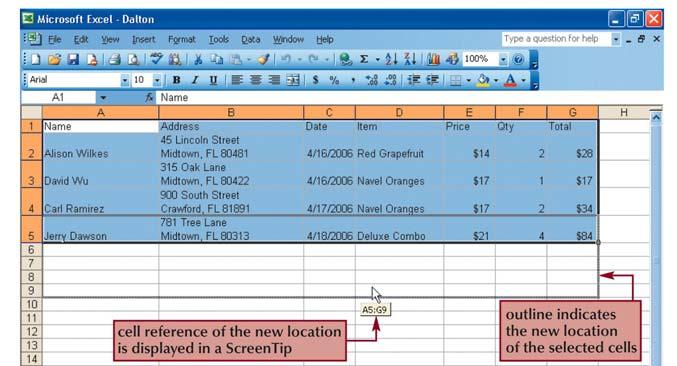 Moving selected cell ranges 23 Insert worksheet rows and columns You can insert one or many additional rows or columns within a worksheet with just a few steps using the mouse or menu options.