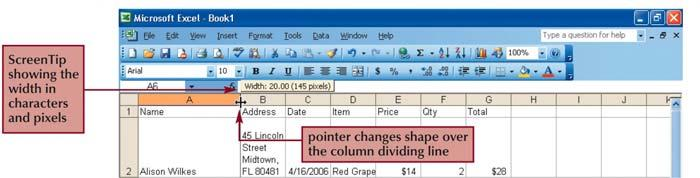 Resize worksheet rows and columns There are a number of methods for altering row height and column width using the mouse or menus: Click the dividing line on the column or row, and drag the dividing
