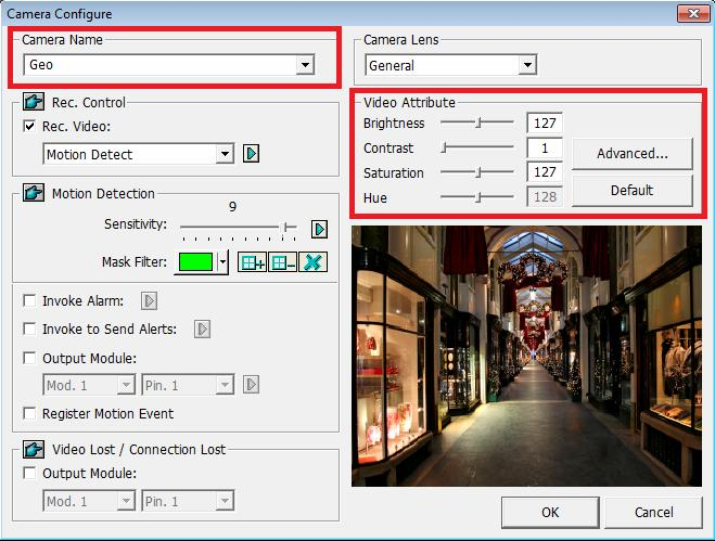 3.3 Changing Camera Names and Attributes You can give a new name for each camera and adjust camera attributes. 1. Click on the main screen, select System Configure and select Camera Configure.