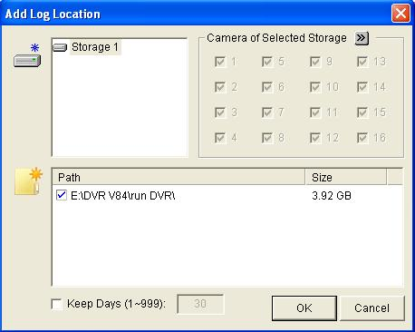 3 Basic Operation 2. In the Video Log Storage section, click the Set Location button and select Storage Group Folder. This dialog box appears. Figure 3-3 3. Click the Add Storage Group icon.