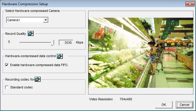 2. Select the cameras you want to set up, and click the Configure button. This dialog box appears. Figure 1-6 3. In the Select Hardware-compressed Camera section, select one camera to be configured.
