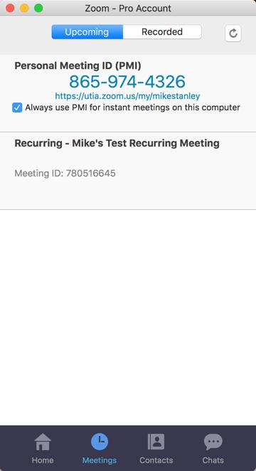 Meetings The Meetings tab displays your upcoming or recurring meetings. The Recorded tab allows you to view previously recorded meetings.