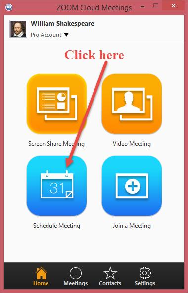 How to Schedule a Meeting in Zoom (Individual and Recurring) To schedule a meeting, you must first log in to Zoom, and then click on the Schedule Meeting icon (see below).