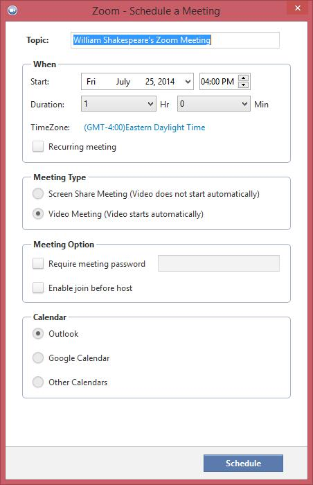 The topic will appear in your Meetings list and is also used for as the subject of the meeting invitation, so be sure to choose a meaningful name. When: Select a date and time for your meeting.