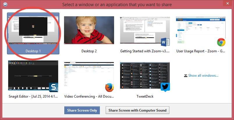 Switching Between Views (Screen Share and Video) During a meeting you can switch back and forth between Screen Share and Video as often as needed.