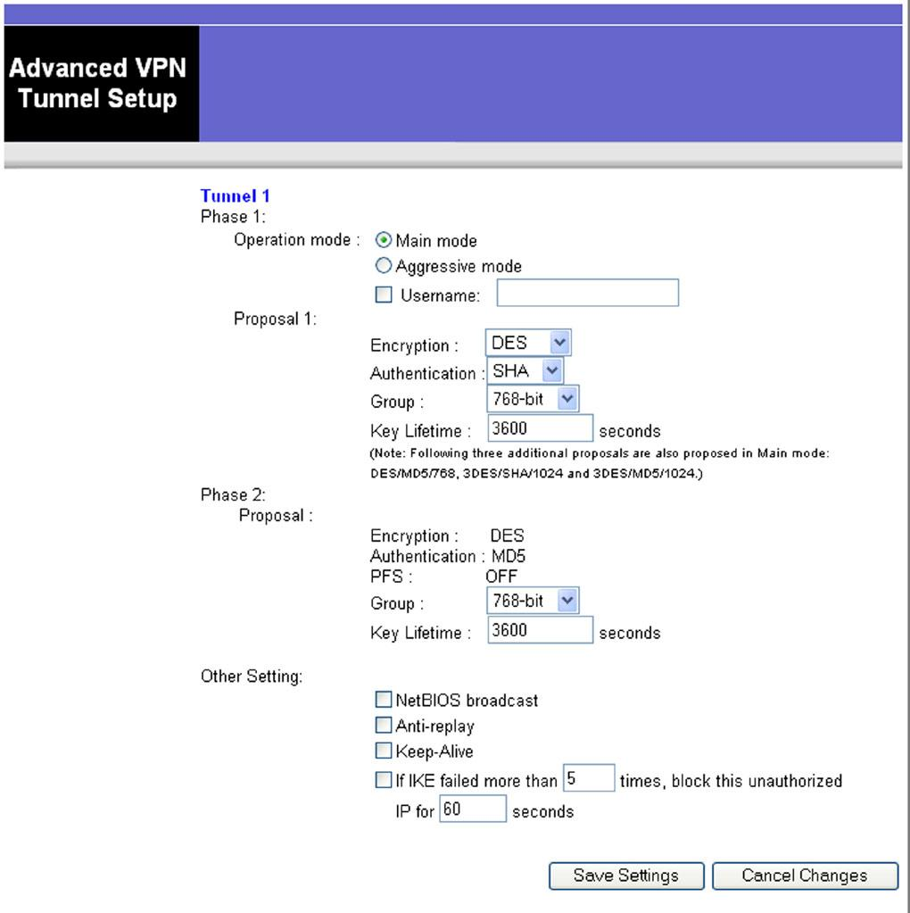 Advanced VPN Tunnel Setup From the Advanced Settings screen you can adjust the settings for specific VPN tunnels. Phase 1.
