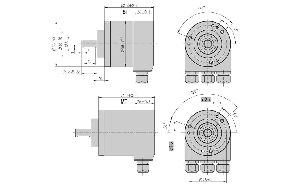 "DIMENSIONED DRAWINGS (continued) Clamping flange ""K"" Dim. Unit Shaft Ø A 10-0.01/-0.02 9."