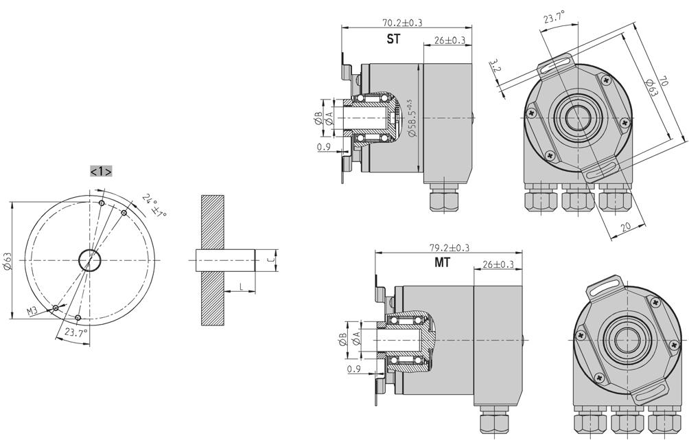 "DIMENSIONED DRAWINGS (continued) Hollow shaft ""F"" Dim. Hollow shaft Ø A 10 +0.012 12 +0.012 9,52 +0.012 Unit 12,7 +0."