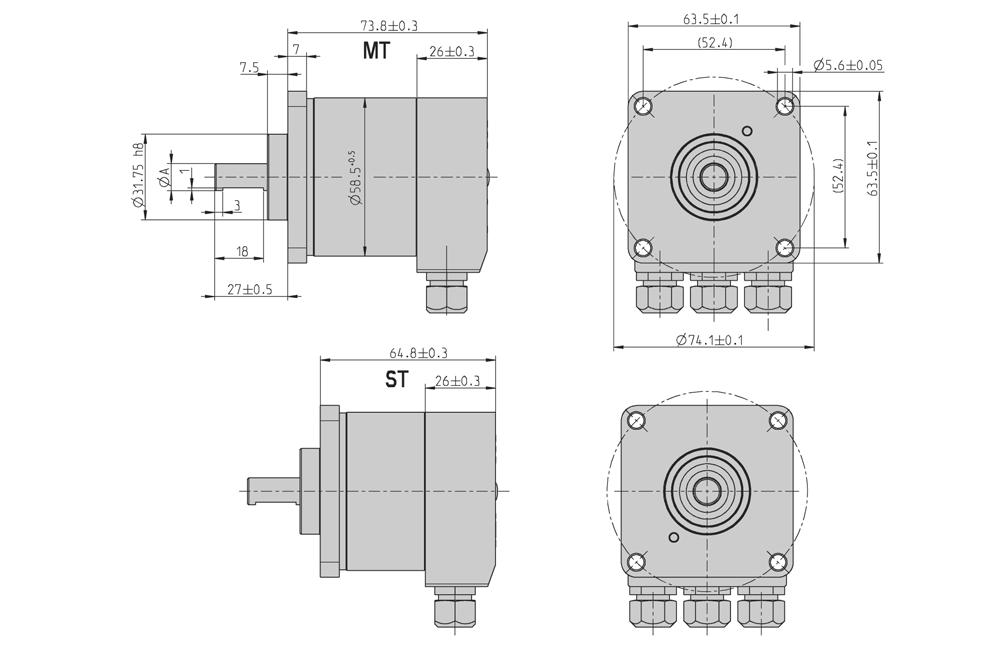 "DIMENSIONED DRAWINGS (continued) Square flange ""Q"" Dim."