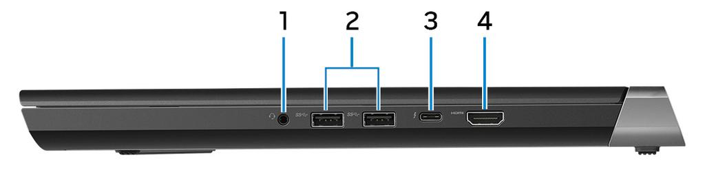 Right 1 Headset port Connect headphones or a headset (headphone and microphone combo). 2 USB 3.1 Gen 1 ports (2) Connect peripherals such as external storage devices and printers.