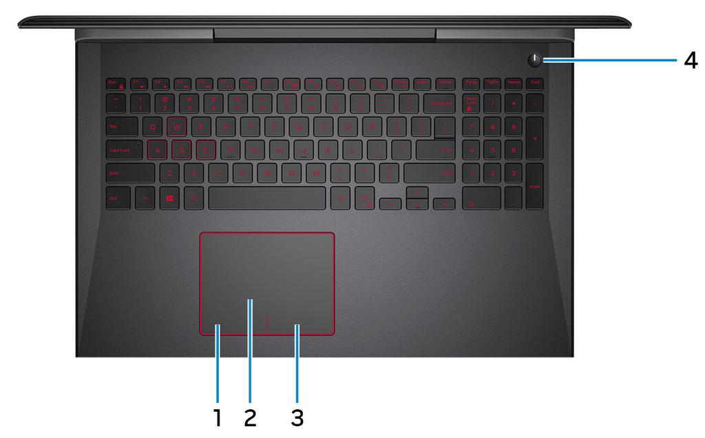 Base 1 Left-click area Press to left-click. 2 Touchpad Move your finger on the touchpad to move the mouse pointer. Tap to left-click and two finger tap to right-click.