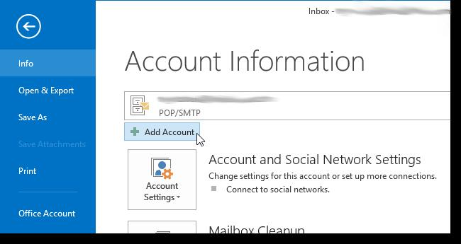 On the Add Account dialog box, you can choose the E- mail Account option which