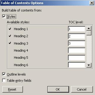 6. Click on the Options button. The Table of Contents Options box displays.