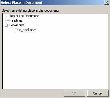 8. To link the selection to a bookmark within the document, click on the Bookmark button. The Select Place in Document box displays.