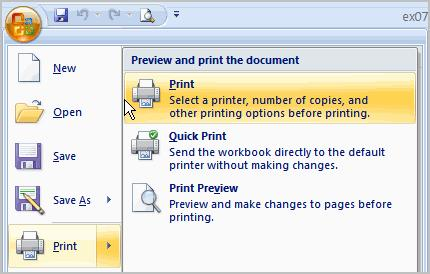 34 THE PNP BASIC COMPUTER ESSENTIALS e-learning (MS Excel 2007) To Print from the Microsoft Office Button: Left-click the Microsoft Office Button. Select Print Print.