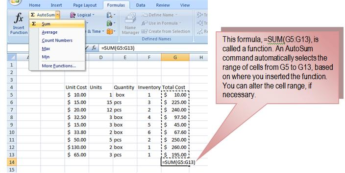 41 THE PNP BASIC COMPUTER ESSENTIALS e-learning (MS Excel 2007) To Calculate the Sum of a Range of Data Using AutoSum: Select the Formulas tab.