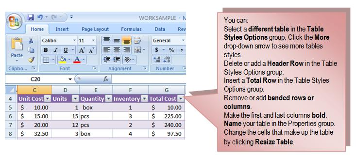 49 THE PNP BASIC COMPUTER ESSENTIALS e-learning (MS Excel 2007) To Modify a Table: Select any cell in the table. The Table Tools Design tab will become active.