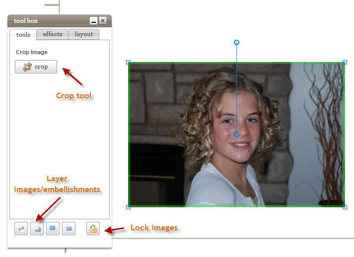 6. Tool Box Tools Tab: Crop your image down by selecting Crop then adjusting the image as desired.