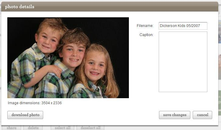 Working with your photos Double Click on an individual photo to rename it or add a caption.