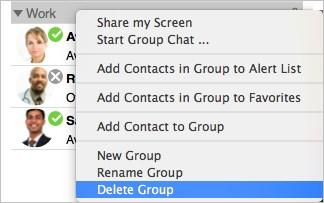 The Group is deleted from contacts.