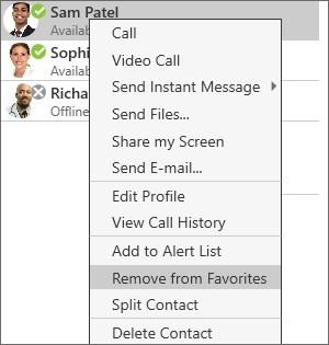 Contacts Directory Tab 2. Right-click (Windows) or CONTROL+Click (Mac) and select Remove from Favorites. The contact is removed from favorites but still appears in contacts.