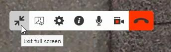 Audio and video calls Handling established calls Click the two way arrow icon. Press ESC (Mac only) The video window screen changes size.