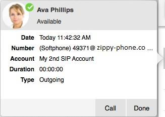 Bria 5displays a flyout that has the Name of the caller, the Date and time of the call, the Number of the call, the SIP Account used, the Duration of the call, and the Type of call.