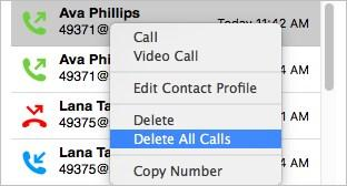 All Calls to delete all entries.