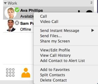 Messaging Sending an IM Contacts and Favorites panels: Hover on the contact you want to message to reveal the click-to-message button.