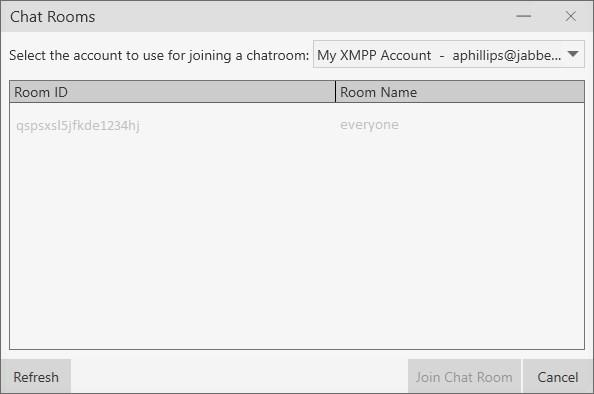 If you have more than one XMPP account, click the appropriate XMPP account from Select the account to use for