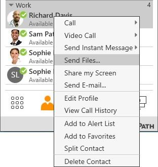 Messaging File sharing 2. Find the file you want to send. Double-click the file or click the file and click Open. A Send files to: Recipient dialog opens.