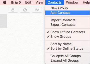 Contact (Windows) or Add Contact (Mac) on
