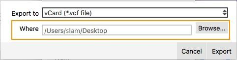 2. Select the type of file you want to export using the drop-down list.