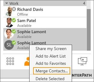 Contacts Editing a contact Merging and splitting contacts If you have two entries that should be one contact, you can merge the contacts together.