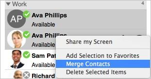 Do one of the following: Windows: Use SHIFT+Click, CTRL+Click, or a combination of both to select one or more contacts you want to merge.
