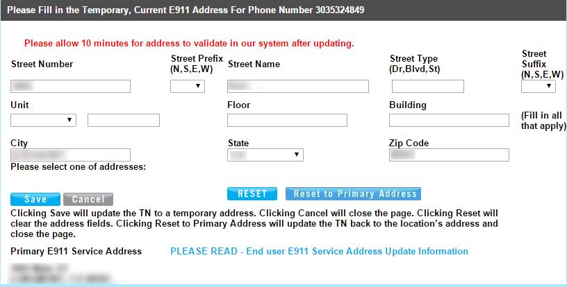 Change CHANGE e9 E9 Address ADDRESS Clicking Edit will load a page similar to image 9.. Image 9. Note: Before making any changes, review the E9 information to understand the importance of E9.