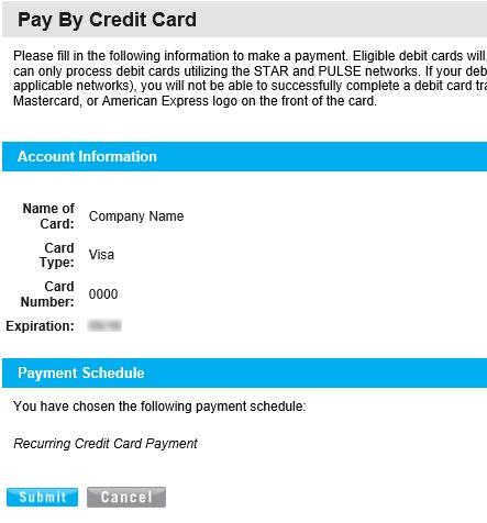 RECURRING Pay CREDIT Your CARD Bill PAYMENT Clicking Next will load a confirmation request screen similar to image 3.