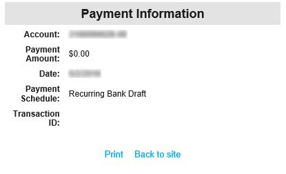 RECURRING Pay Your BANK Bill DRAFT Clicking Submit will load a final confirmation page similar to image 5.. Image 5.