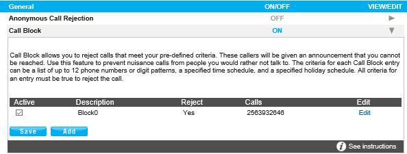 Call Block Call Block Call Block rejects calls that meet your pre-defined criteria. Callers meeting these criteria will be played an automated message advising them that you cannot be reached.